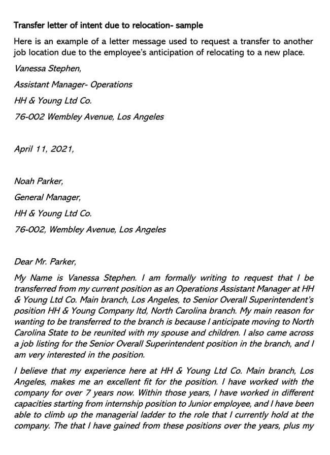 Transfer Department Job Letter of Intent 03