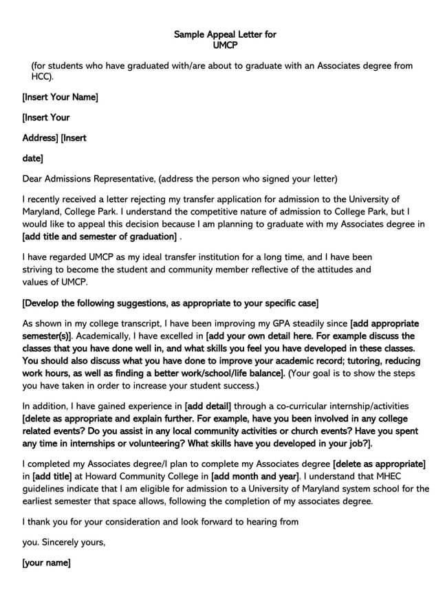 UMPC Appeal Letter