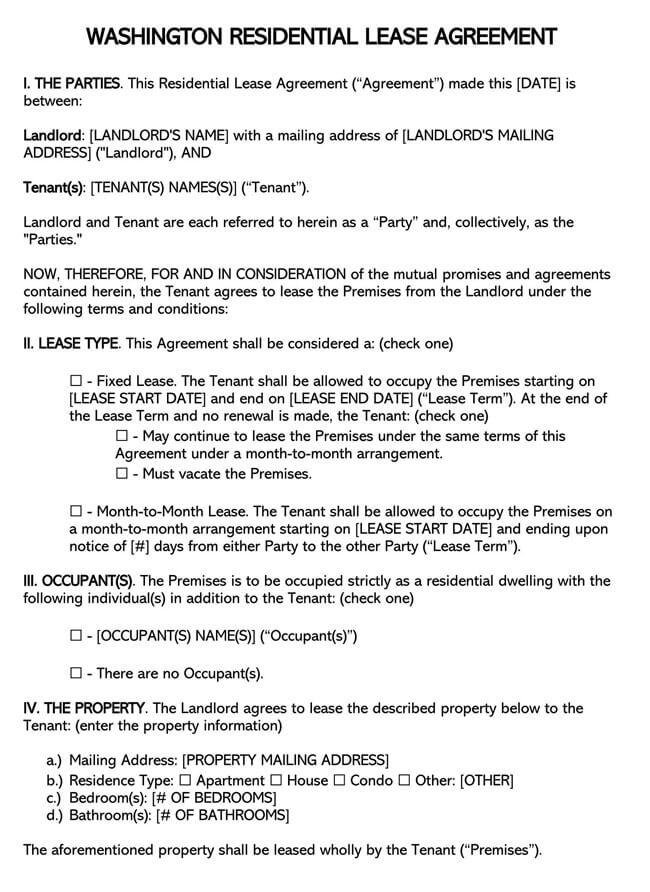 Washington Residential Lease Agreement