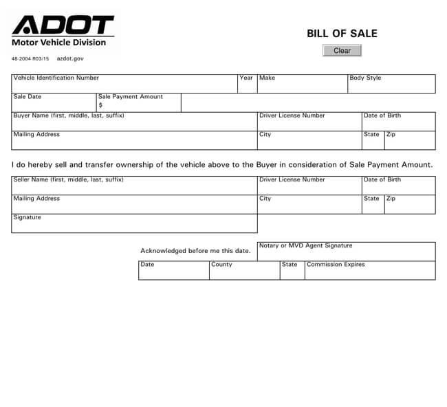Arizona Motor Vehicle Bill of Sale
