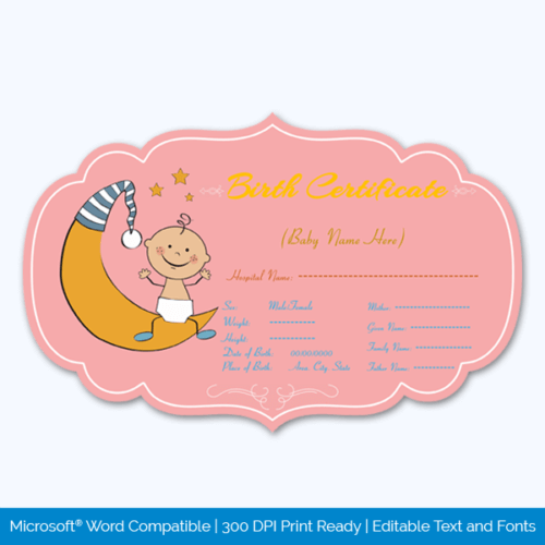 Play Birth Certificate Printable