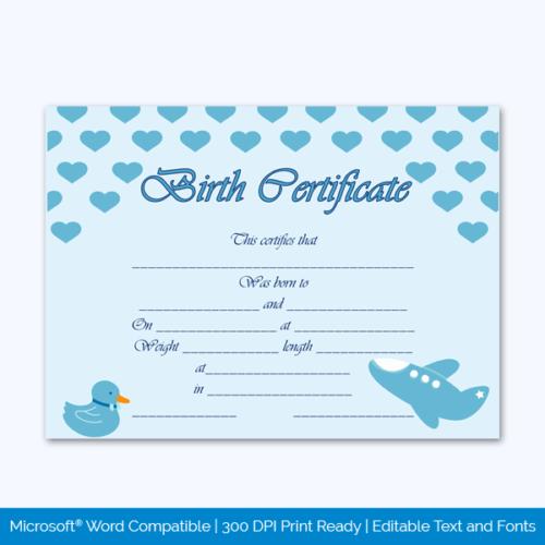 Fake Pet Birth Certificate Free