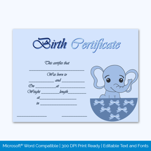 Pet Free Birth Certificate Sample