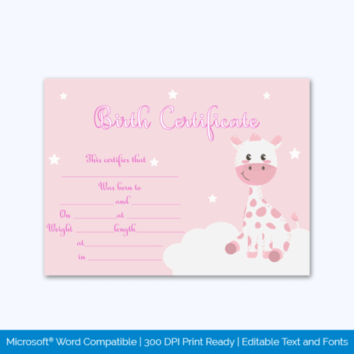 Adoption Pet Birth Certificate