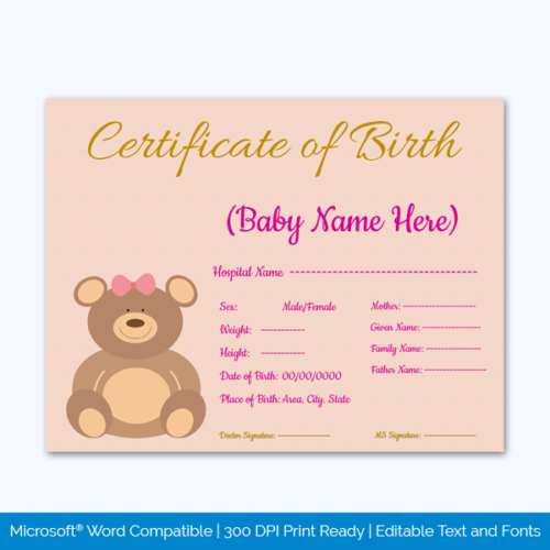 Example of Birth Certificate