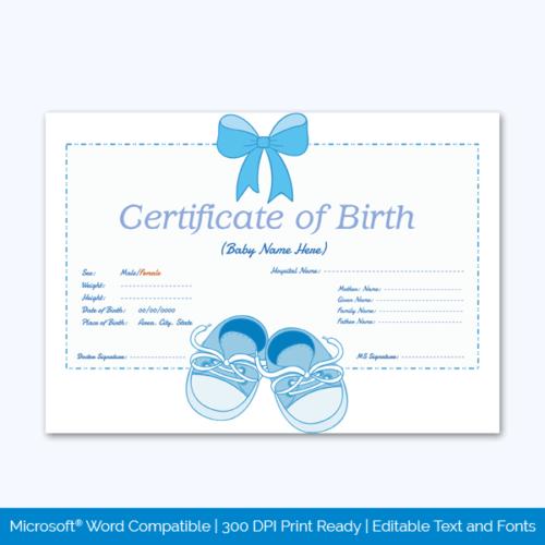 Certificate of Birth Sample Free