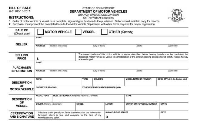Connecticut Motor Vehicle Bill of Sale