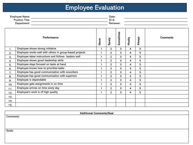 Employee Evaluation Form Template 02