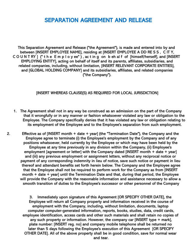 Employee Separation Agreement Template 01