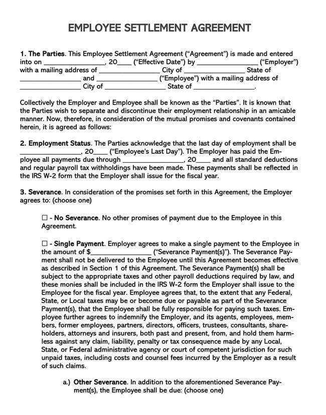 Employee Separation Agreement Template 03