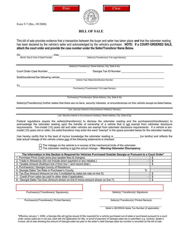 Georgia Motor Vehicle Bill of Sale