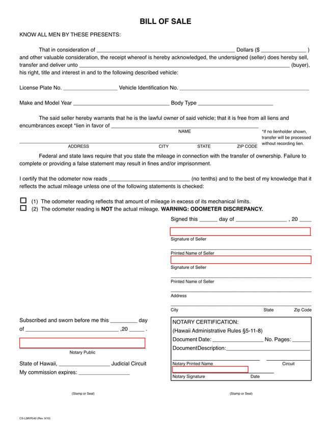Hawaii Motor Vehicle Bill of Sale