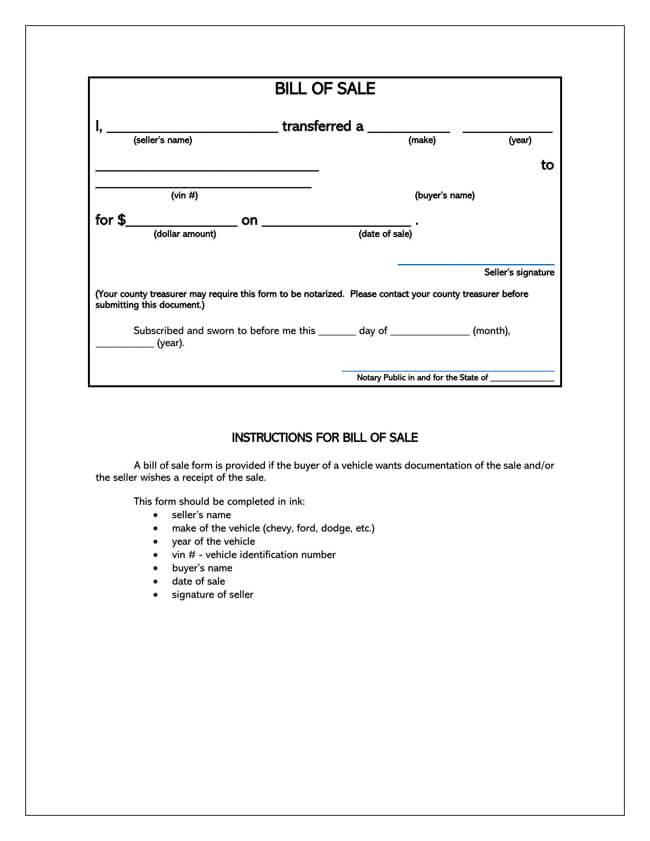 Iowa Motor Vehicle Bill of Sale