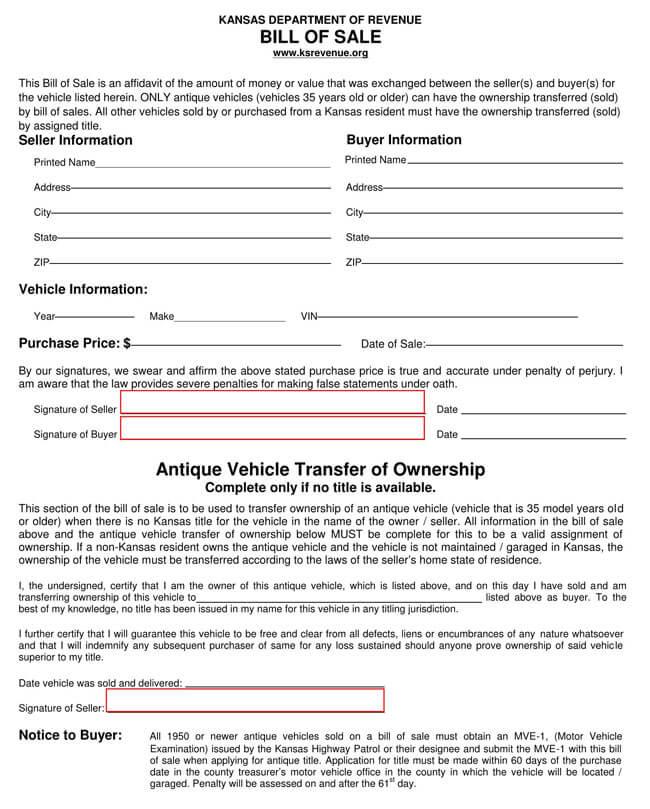 Kansas Motor Vehicle Bill of Sale
