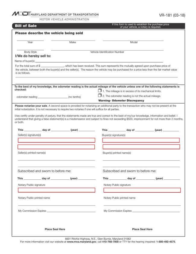 Maryland Motor Vehicle Bill of Sale