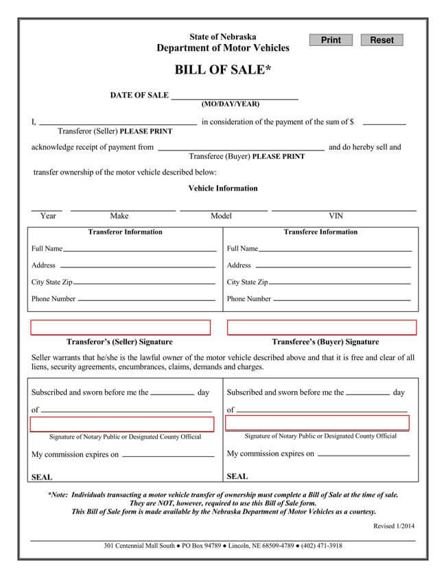 Nebraska Motor Vehicle Bill of Sale