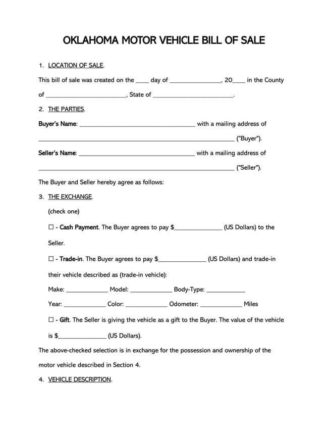 Oklahoma Motor Vehicle Bill of Sale