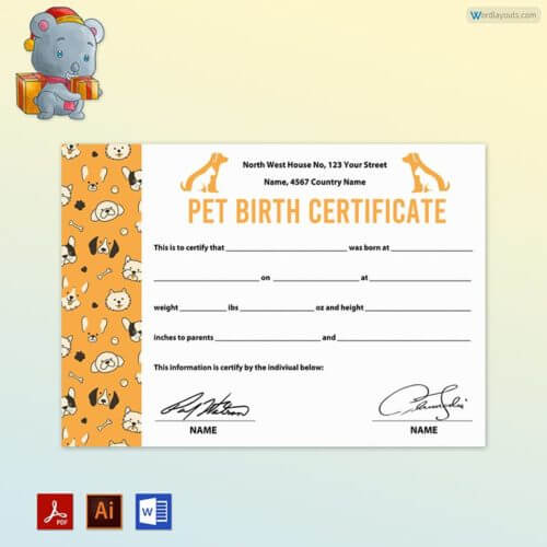 Puppy Birth Certificate Free Download
