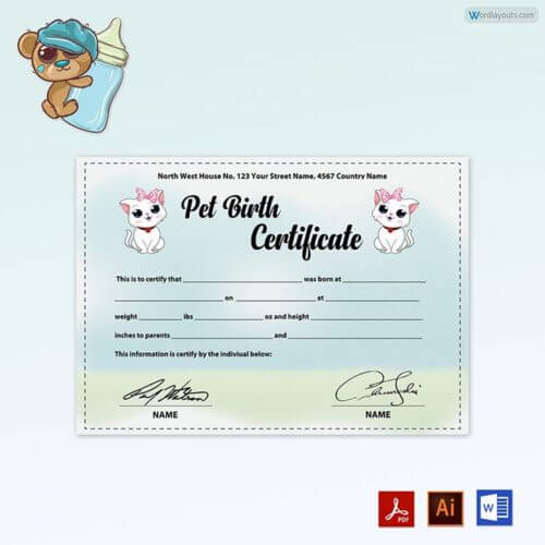 Free Download Pet Birth Certificate