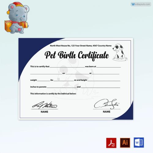 Free Puppy Birth Certificate