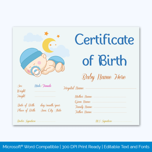 Birth Certificate PSD File Free