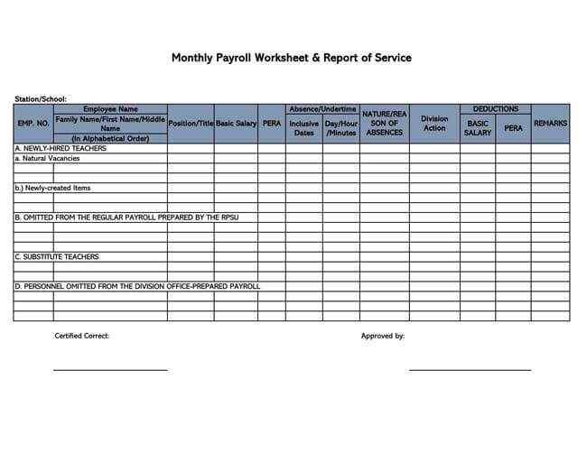Small Business Payroll Template 19