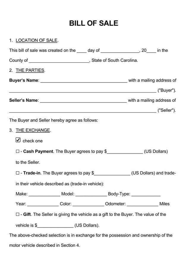 South Carolina Motor Vehicle Bill of Sale
