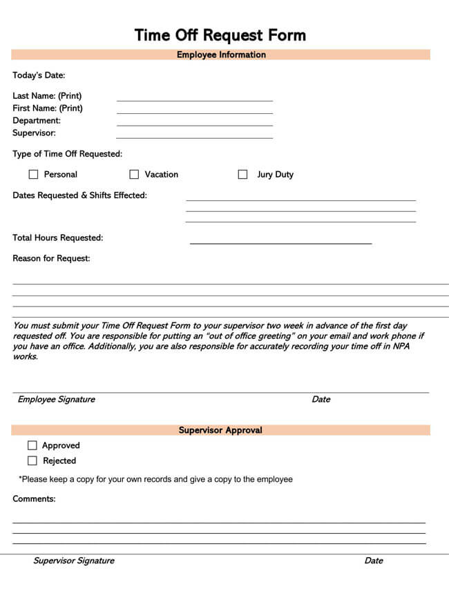 Time Off Request Form Template 08