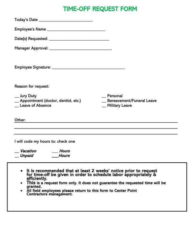 Time Off Request Form Template 09
