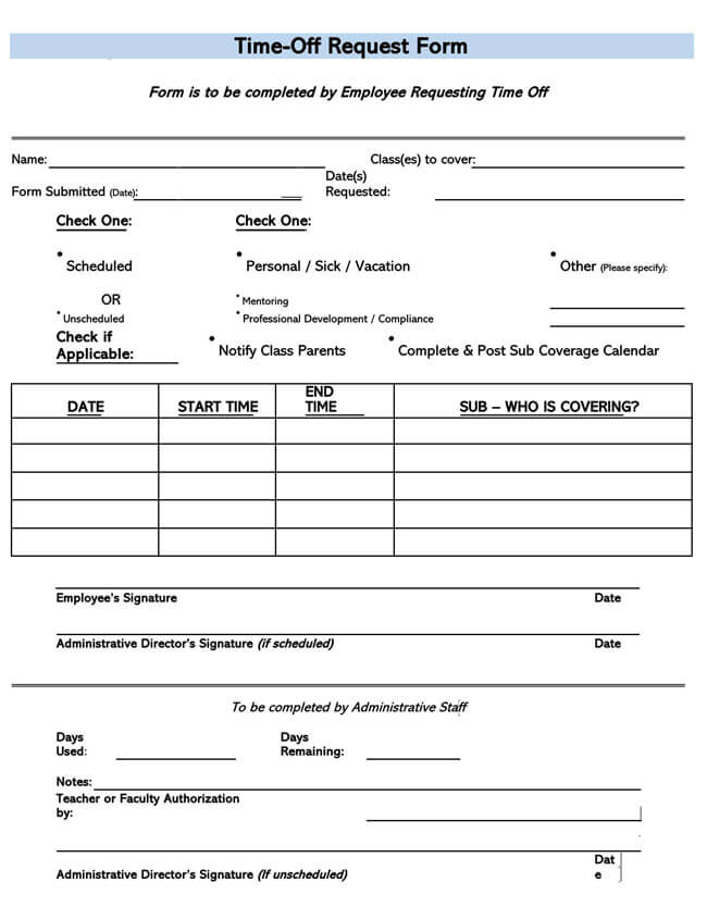 Time Off Request Form Template 18