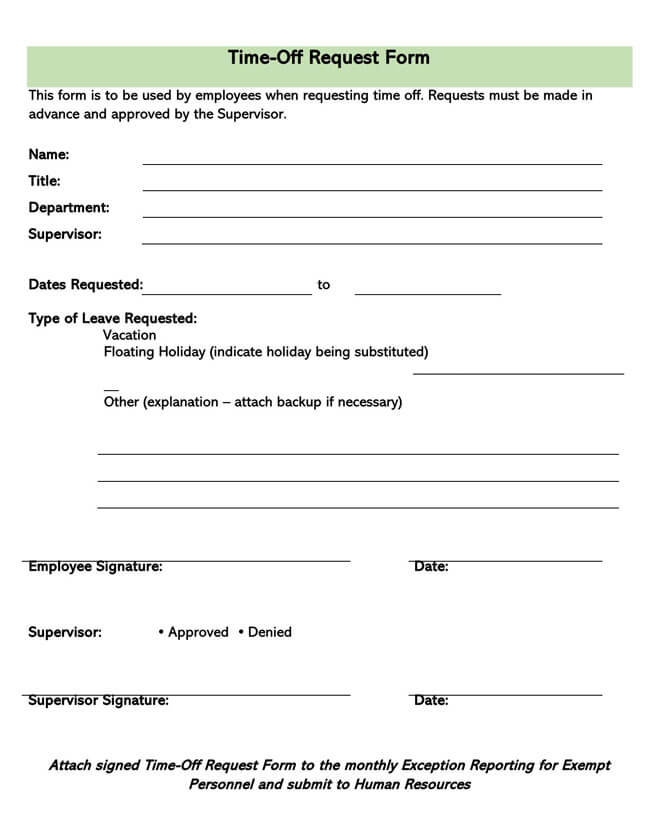 Time Off Request Form Template 19