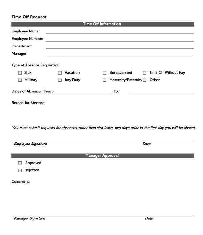 Time Off Request Form Template 20