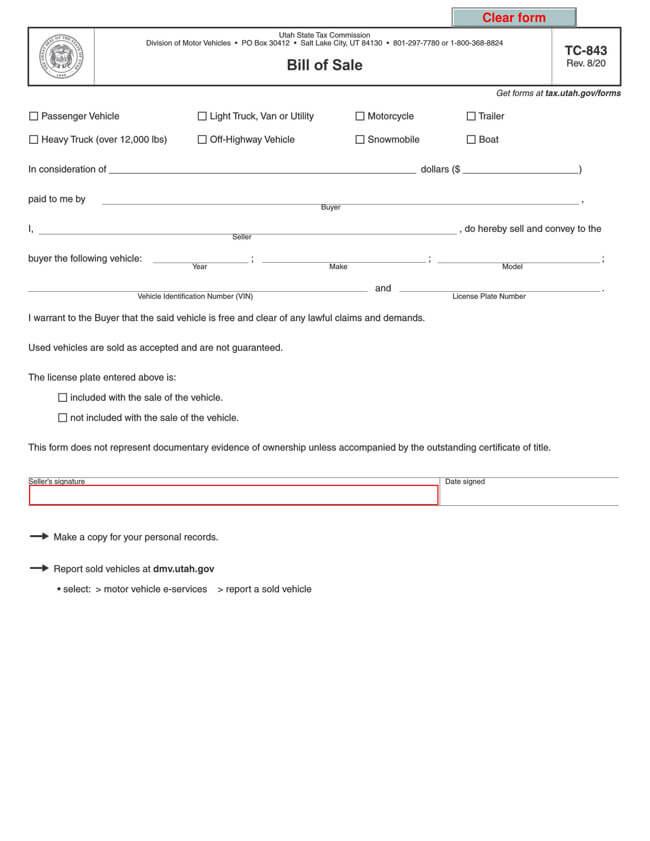 Utah Motor Vehicle Bill of Sale