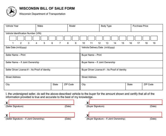Wisconsin Motor Vehicle Bill of Sale