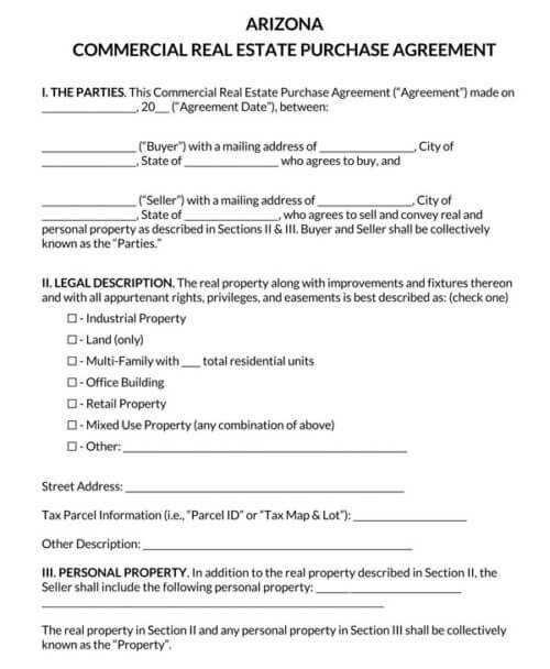 Arizona Commercial Real Estate Purchase Agreement