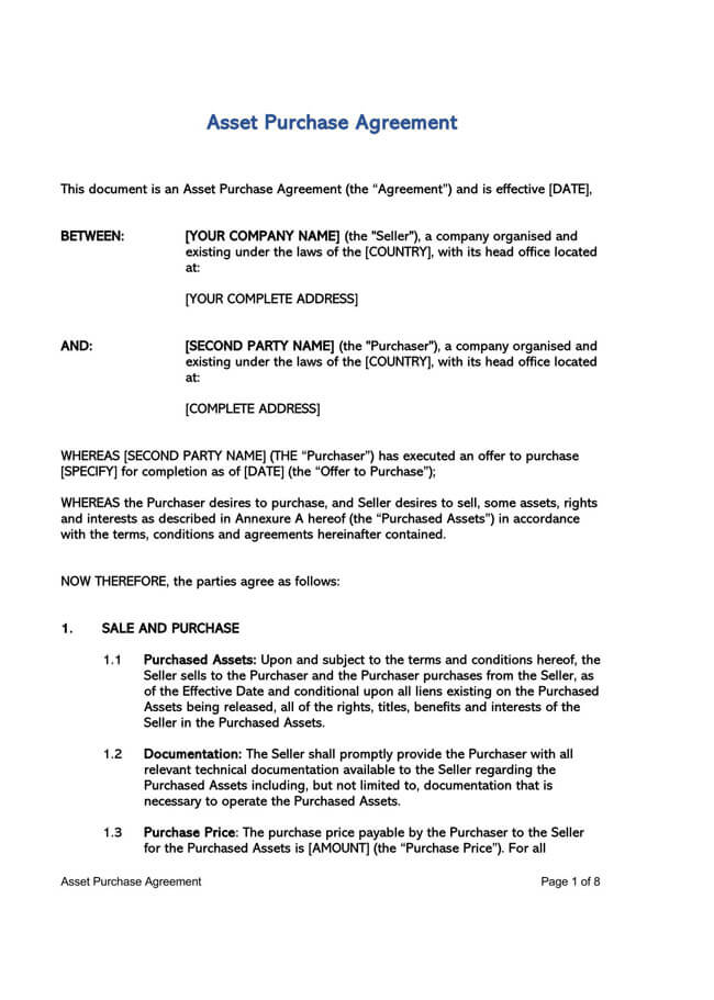 Asset Purchase Agreement Template 02