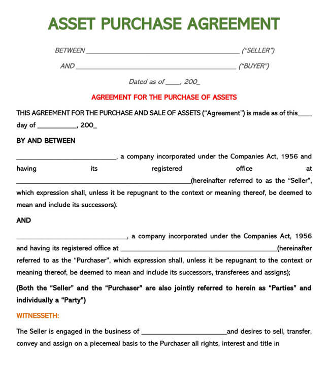 Asset Purchase Agreement Template 03