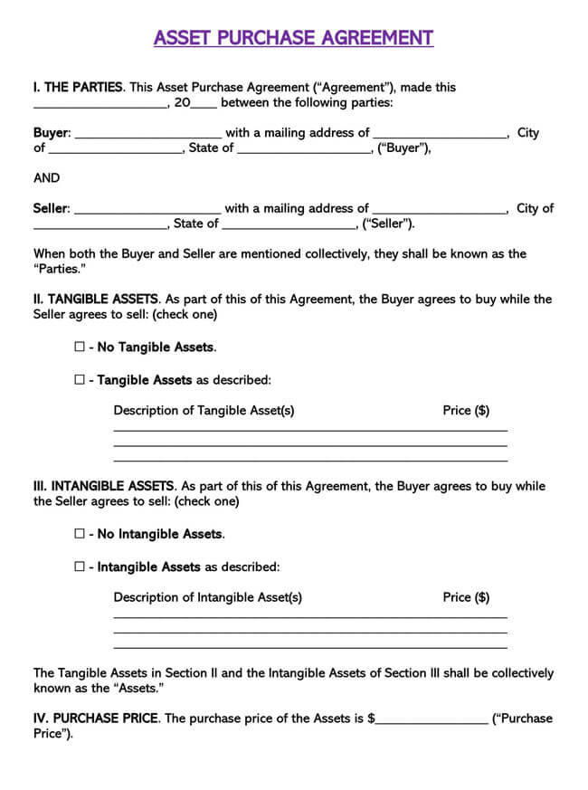 Asset Purchase Agreement Template 04