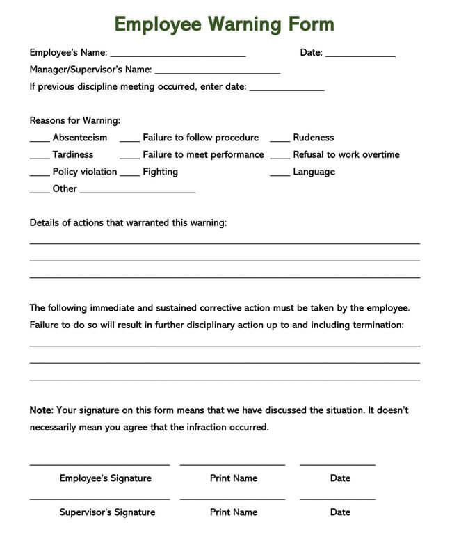 Employee Warning Notice Template 01