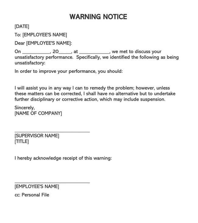 Employee Warning Notice Template 05