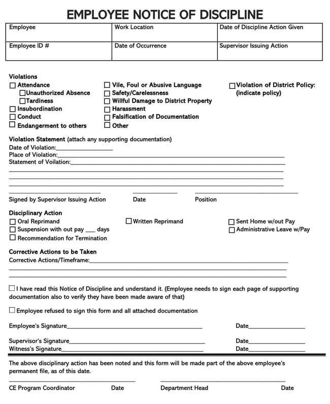 Employee Warning Notice Template 12