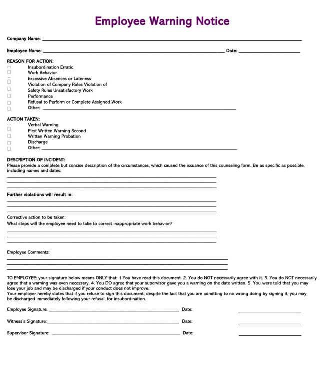 Employee Warning Notice Template 14