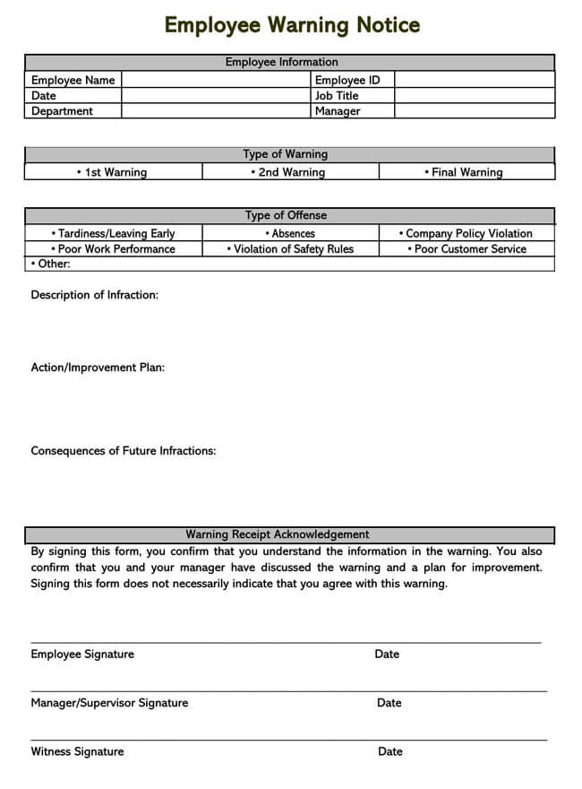 Employee Warning Notice Template 17