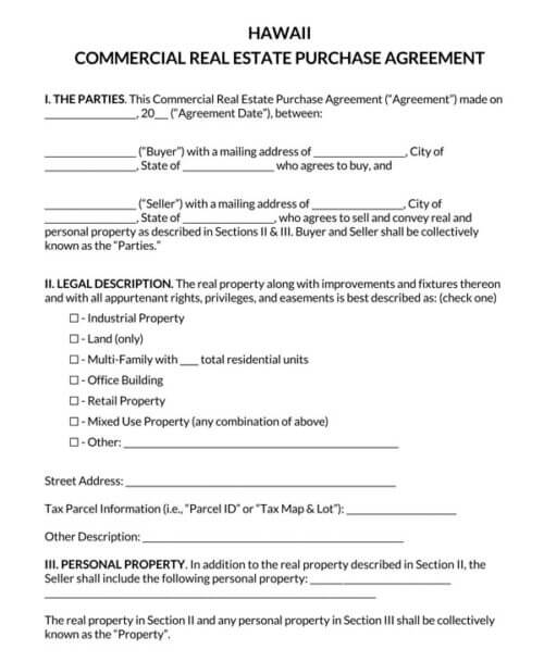 Hawaii-Commercial-Real-Estate-Purchase-Agreement