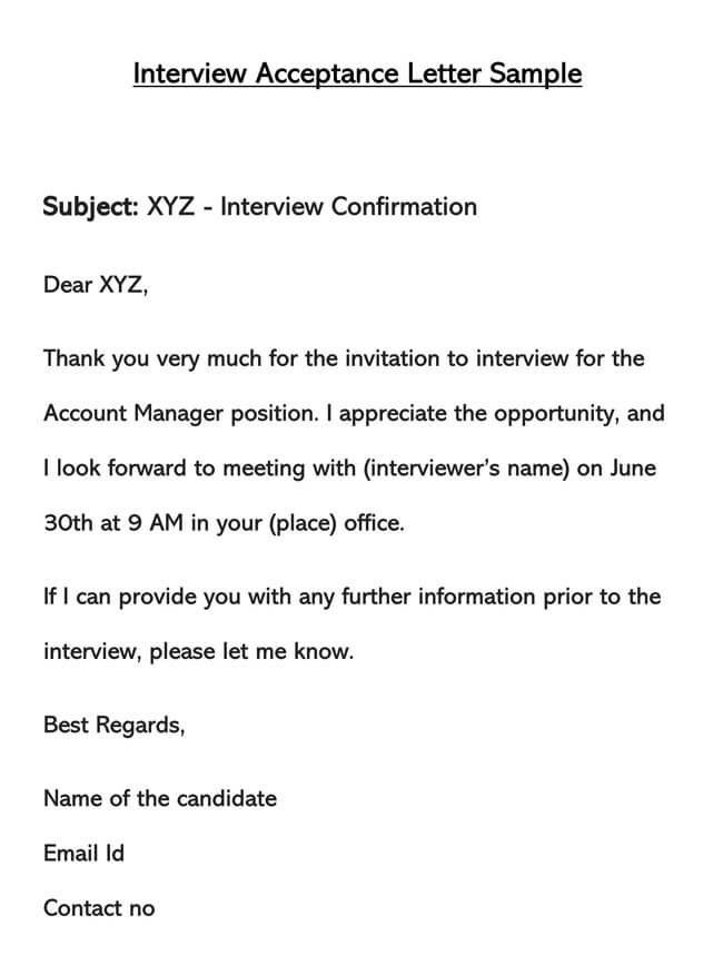Interview Acceptance Letter Template 01