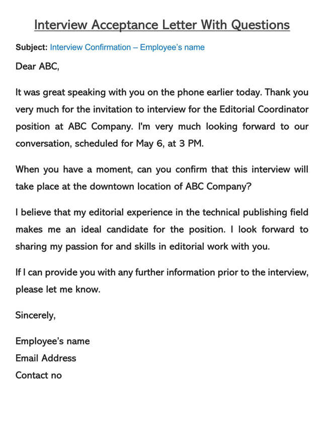 Interview Acceptance Letter Template 02