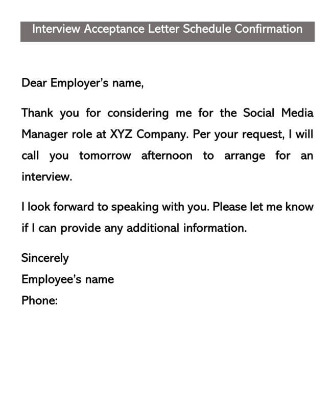 Interview Acceptance Letter Template 05