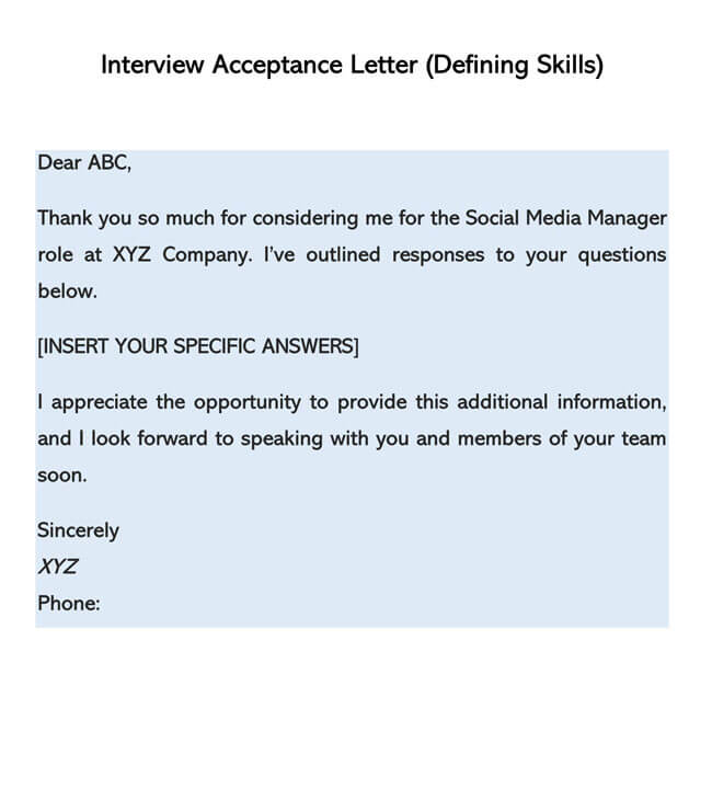 Interview Acceptance Letter Template 06