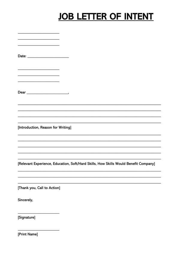Letter of Intent Template 01
