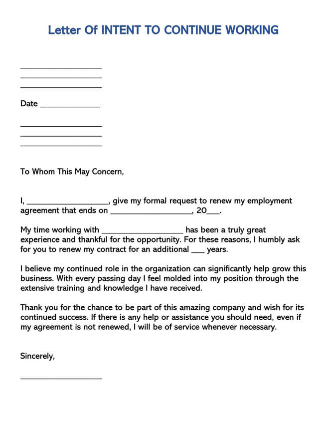 Letter of Intent to Continue Working